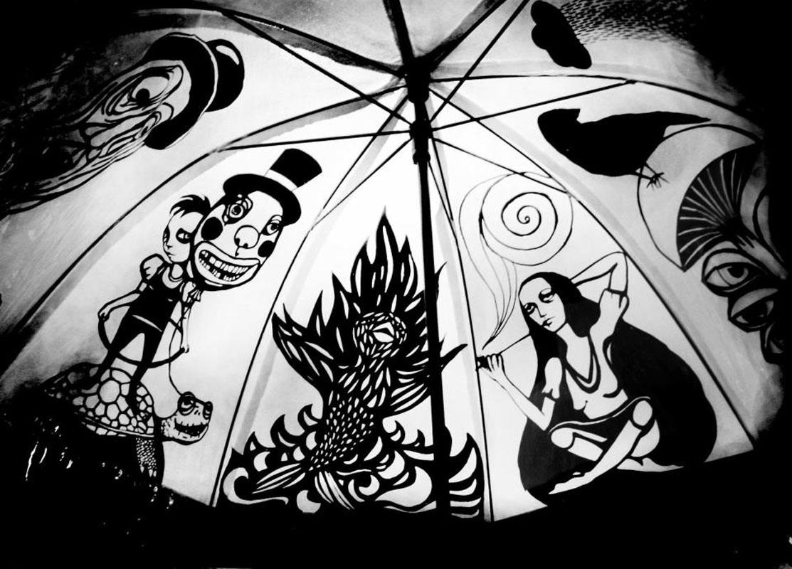 Grafik auf Sonnenschirm